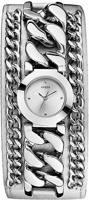 $ CDN100.23 • Buy Guess Silver Tone Stainless Steel Chain Leather Cuff Women's Watch U12643l1 New