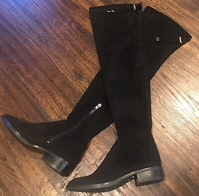 6f6fe006fbb3 Sam Edelman Size 6 Paloma Tall Black Suede Over The Knee Boots 1 Inch Heel  NEW