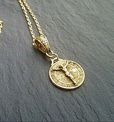 £8.45 • Buy Gold St Benedict Medal Necklace Christian Crucifix Necklace Cross UK Seller