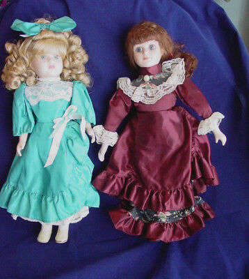 $ CDN58.18 • Buy 2 Porcelain Dolls Blond And Brunette 16 1/2  High Victorian Outfits Unbranded