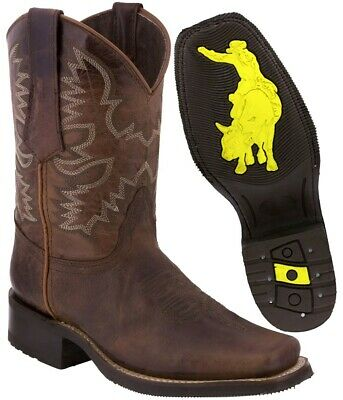 99af5b571 Mens Cognac Work Saddle Style Western Cowboy Boots Square Toe All Real  Leather • 68.99