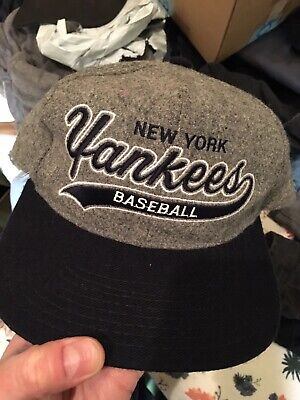 794b359f299 New York Yankees Vintage Starter Snapback Cap Hat Melton Wool NY Grey Navy  • 45.00