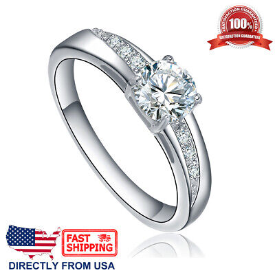 $8.96 • Buy Women's Stainless Steel Cubic Zirconia CZ Solitaire Engagement Wedding Ring