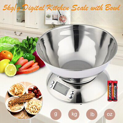 5Kg Digital Kitchen Scale Electronic Household Food Cooking Weighing Bowl Scales • 13.99£
