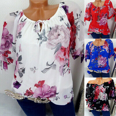 £11.18 • Buy Womens Chiffon Floral Button Lace Up Shirt Ladies Casual Top Blouse Plus Size 22