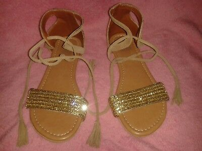 £8 • Buy Ladies Size 4 Gold And Beige Suede Ankle Tie Sandals F&f