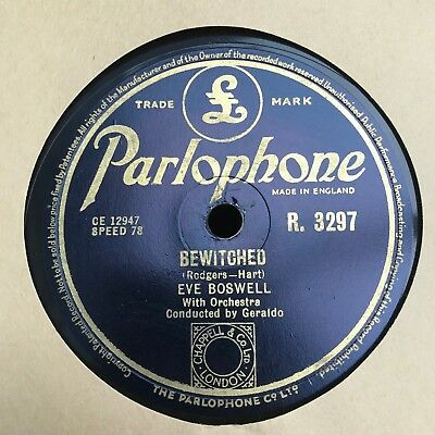 £9.99 • Buy Parlophone R.3297 - Eve Boswell - Bewitched - 78 RPM Record EX