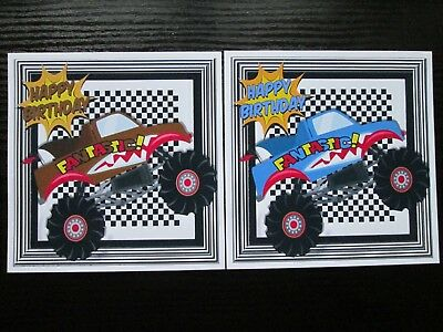 2 X Happy Birthday FANTASTIC BIG TRUCK/JEEP Card Toppers Great For Boys Cards • 1.20£