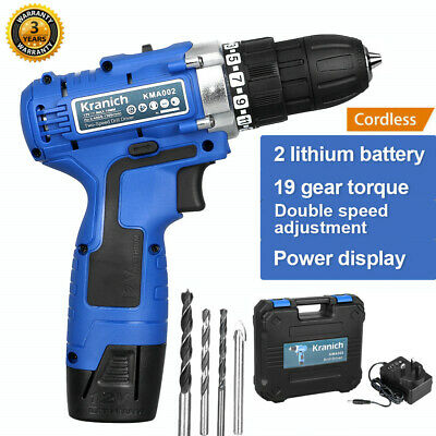 View Details 12V Cordless Drill Driver 2-Speed Li-ion Electric Screwdriver LED Worklight 6Pcs • 35.99£