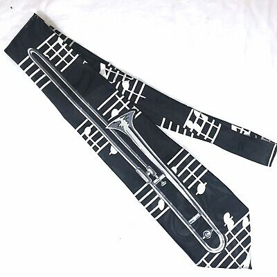 Trombone Men's Neck Tie Music Brass Musical Instrument Black Renaissance Ties • 9.50$