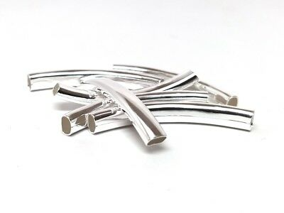 $3.65 • Buy 6 Pcs Silver Plated Noodle Oval Tube Long Thin Smooth Curved Beads - 42mm X 6mm