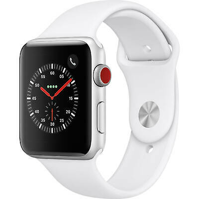 $ CDN502.14 • Buy Apple Watch Series 3 42mm GPS Cellular Silver Case White Sport Band MTGR2LL/A