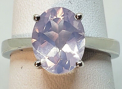 $47.50 • Buy Lavender Quartz 10x7mm Oval Solitaire 925 Sterling Silver Ring Size 7 From India