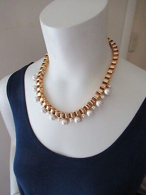 $ CDN138.06 • Buy NWT Kate Spade Gold Tone Box Chain Pearl Necklace/ Gold Filled Links/ FauxPearls