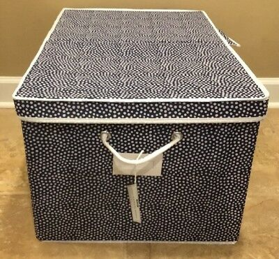 $31.99 • Buy NEW Pottery Barn Teen Dottie LARGE Canvas Bin Under Bed NAVY *Small Issue*