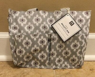 $23.99 • Buy NEW Pottery Barn Teen Bath Beauty Bin BOHO GRAY PAISLEY