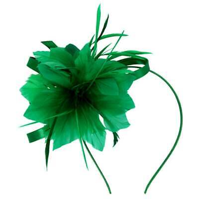 £14.99 • Buy New Satin Loop Feather Flower Fascinator Satin Covered Alice Band