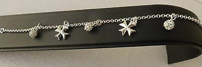 £23.88 • Buy Sterling Silver Maltese Cross Bracelet With Charms Of Shamballa Factory Price!