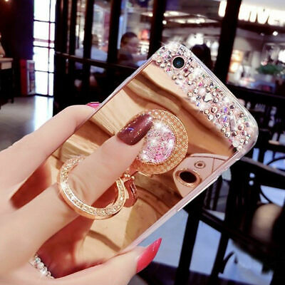 £4.09 • Buy Luxury Bling Diamond  Ring Holder Stand Mirror Case Phone Cover Samsung A6 A8