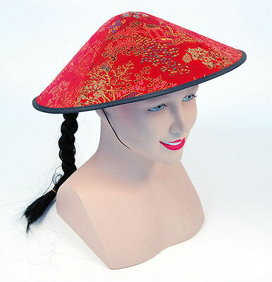 Men's Chinese Red Coolie Hat Chinese New Year Party Fancy Dress Oriental China • 7£