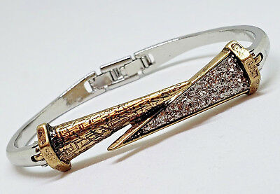 $8.61 • Buy Spike Nail Stainless Steel Unisex Bracelet Gold Silver 2 Tone Hinge Clasp Bangle