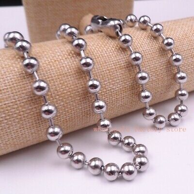 8mm Stainless Steel Silver Round Smooth Ball Chain Necklace Bracelet Set  • 15£