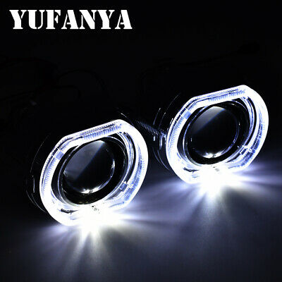 $55.72 • Buy 2.5'' HID Bi Xenon Projector Lens Square LED Angel Eyes Retrofit Headlight DRL