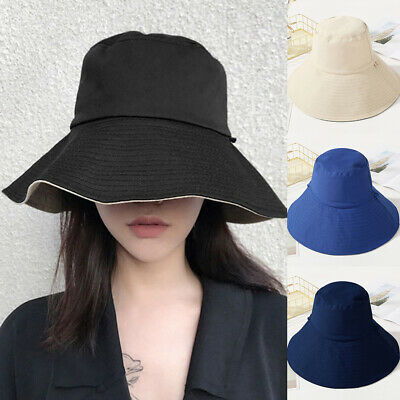 Women Reversible Summer Sun Hat Foldable Packable Holiday Travel Bucket Caps Hat • 6.49£