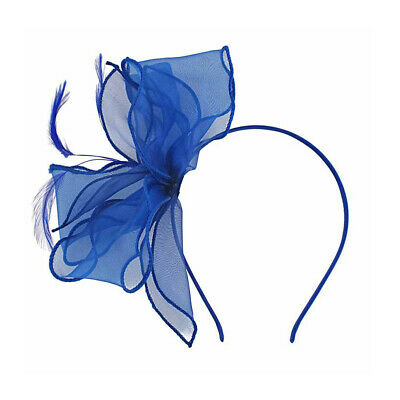 £9.99 • Buy Organza Fascinator On Satin Covered Alice Band With Feathers