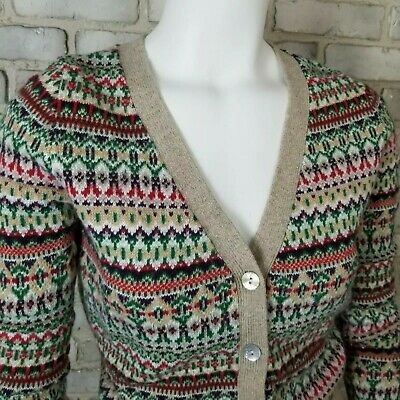 LOGG Womens Cardigan Sweater Sze M Beige Fair Isles By Label Of Graded Goods H&M • 17.99$