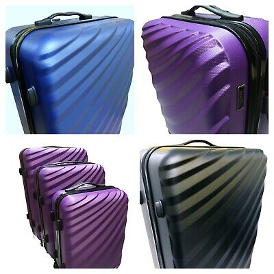 ABS Luggage Suitcase Set Of 3 Hard Shell Light Weight 4 Wheel Spin  Blue Black • 59.75£