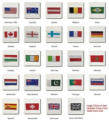 National Country Flags Different Sizes Iron Sew On Embroidered Patch Badge • 1.79£