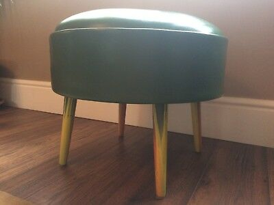 £150 • Buy 1950,s Green Leather Round  Pouffe Footstool, Retro, Vintage Sherbourne