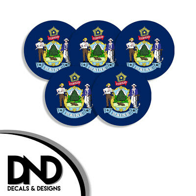 $2.98 • Buy Maine State Flag ME Circle Sticker USA Helmet Decal 5 Pack 2.5in