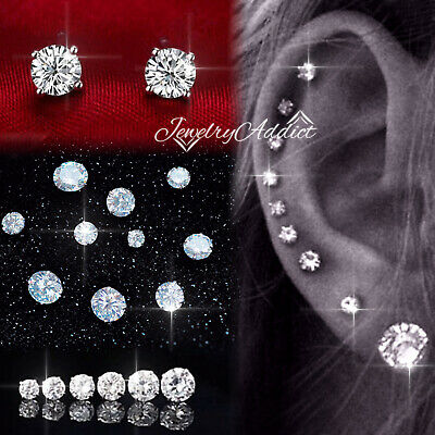 AU4.99 • Buy 18K GOLD GF MENS WOMENS 3mm-10mm CT DIAMOND STUD EARRINGS EAR CARTILAGE Piercing