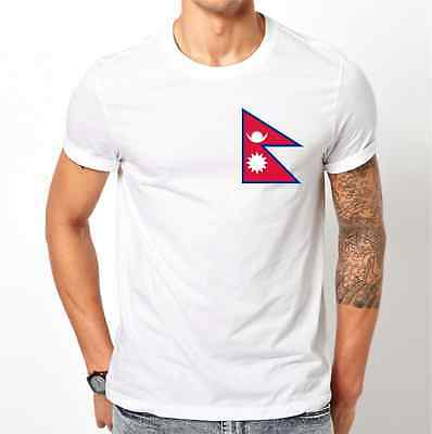 Nepal National Flag Image Mens White T Shirt S M L XL XXL Football Supporter Fan • 16.99£