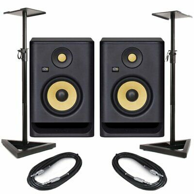 KRK Rokit RP5 G4 Pair Active DJ Studio Monitor Speakers With Pro Stands & Cables • 300£