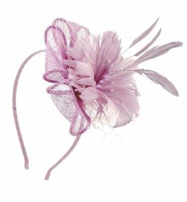 £14.99 • Buy Sinamay Flower Fascinator With Feathers Net Beads PomPom Alice Band