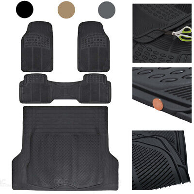 $49.50 • Buy 4 Piece Trimmable Rubber Car Floor Mats With Cargo Trunk Liner Heavy Duty Set