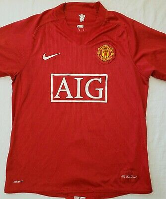 06cf931a2c0 Nike Fit Dry Manchester United Mens Red Devils AIG Soccer Jersey Barrett  Medium • 19.99
