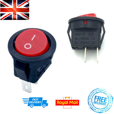 £2.09 • Buy RED On/Off Circle Rocker Switch 2 Way 2 Pin 15mm Round 3A DIY Electrical Project