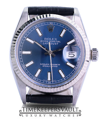 $ CDN4889.60 • Buy Rolex Mens Datejust SS 36mm Blue  Dial 18K Gold Fluted Bezel Leather Watch