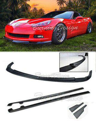 For 05-13 Corvette C6 Base Model ABS Front Lip Splitter & Side Skirts ZR1 Style • 289.98$