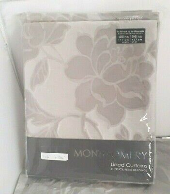 £22.99 • Buy MONTGOMERY LINED CURTAINS 46 X 54  MEDICI SILVER