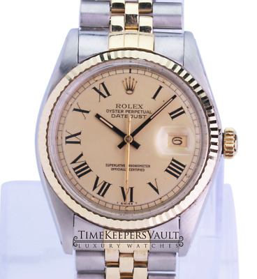 $ CDN6623.17 • Buy Authentic Rolex Mens Datejust 1601 Champagne Dial Fluted Bezel 36mm Watch