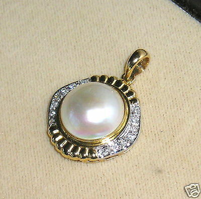 $229 • Buy SOLID     14K  Gold    MABE   Pearl   DIAMOND   Pendant