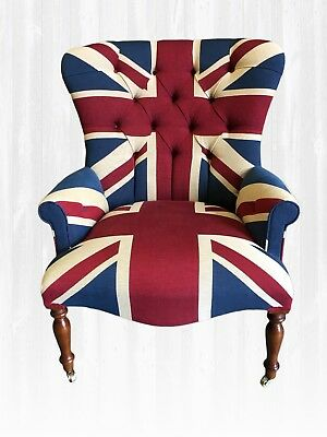 £610 • Buy Union Jack Armchair HANDMADE IN UK New Chair Shabby Chic Large