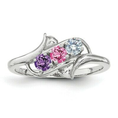 $75 • Buy Custom Birthstone Ring 1- 5 Stones Sterling Silver, Mothers Day Jewelry Rings