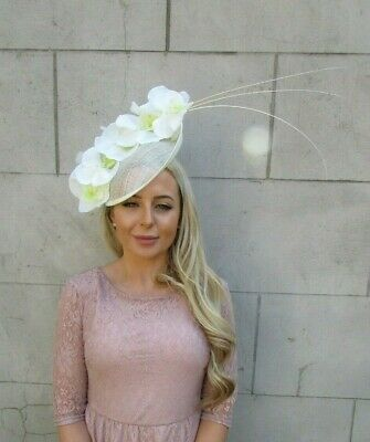 Large Cream Orchid Feather Flower Saucer Disc Hat Fascinator Races Big Hair 7184 • 49.95£