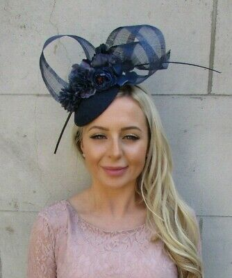 Navy Blue Rose Flower Feather Pillbox Hat Hair Fascinator Races Wedding 7189 • 33.95£